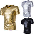 Fashion Summer Mens Casual V-Neck Cotton Tops Blouse Slim Short Sleeve T-Shirt