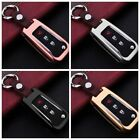 For Venucia Remote Key Fob Case Aircraft Aluminum Cover Genuine Leather Keychain