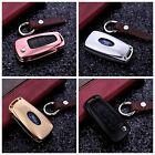 Remote Folding Flip Key Fob Case Aluminum Cover Protector Genuine Leather Chain