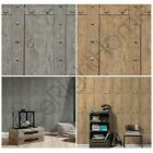 WOOD PANEL RIVETS WALLPAPER AS CREATION BROWN GREY FEATURE WALL DECOR NEW