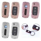 For Volkswagen / VW Remote Key Cover Bling Crystal Aluminum Case Genuine Leather