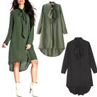 Women Ladies Bow Tie Tops Shirt Long Sleeve Casual Loose Shirt Dress Plus Size