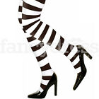 Stripe Tights Ladies Striped Tights Stripey Opaque White Black Fancy Dress NEW