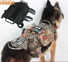 Black Dog Vest MOLLE System Tactical Dog Harness Vest Lead Bearing Clothes XS-XL