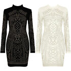 New Gold Studded High Polo Neck Long Sleeve Bodycon Celebrity Mini Party Dress