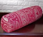 AL256g Rose Red Cream Elephant Cotton Canvas Bolster Cover Nect Roll Yoga Case