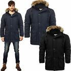 Mens Crosshatch Parka Jacket Coat Padded Quilted Faux Fur Lined Hooded Winter