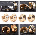 Men Women Craft Glaze Rhinestone Stainless Steel Charm Stud Earrings Jewelry