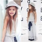 2 pcs Set Kids Baby Girls Summer Outfits Clothes Sleeveless Tops+Long Dress Set