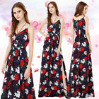 AlisaPan Women Prom Dress Floral Spaghetti Strap V Neck Evening Dresses 08983