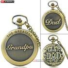 Bronze Mens Pocket Watch Quartz Necklace The Greatest Grandpa DAD Antique Gift image