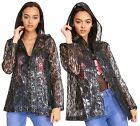 New Womens Hooded Floral Lace Patterned Light Rain Mac Jacket