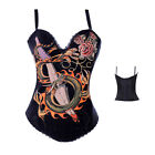 Black Old School Tattoo Sexy Goth Punk Corsets Basques Hen Party Costume S-2XL
