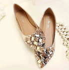 Womens Crystal Rhinestones Pointed Toe Flats Shoes Pumps Slip On Loafers Plus Sz