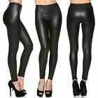 Women Casual Skinny Leggings Stretchy Pants High Waist PU Leather Pencil Jegging