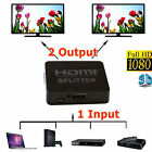 4K HDMI Splitter 1X2 1 in 2 out Hub Repeater Amplifier 1080p, Connect 2 TV NEW