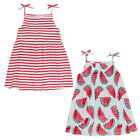 Older Girls Strappy Summer Dress Shirred Front Watermelon Or Stripes Theme