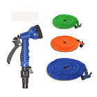 3 Colors 75 Feet Latex Expanded Flexible Garden Water Hose with Spray Nozzle US