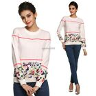 FINEJO Women O Neck Sweet Butterlies Floral Printing Patchwork  Hoodies N4U8