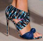 womens mixed color peep toe high heel party sandals leather zipper shoes D897