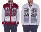 Mens Classic Long Sleeve Button Up Cardigan Argyle Diamond Aztec Print Top