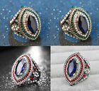Retro Round Colorful Crystal Ring Silver Plated Diamondate Ring Women Lady Gift