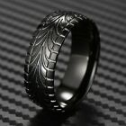 Black Stainless Steel Men's Tire Track Wedding Band Ring Size 9-13