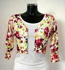 %SALE% YEST WHITE PINK GREEN FLORAL CROPPED BUTTON CARDIGAN 3/4 SLEEVED BNWT