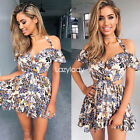 Women halter floral print off shoulder summe beach casual playsuit shorts dress