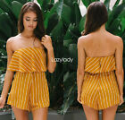 Women one piece strapless print summer beach short party club playsuit romper