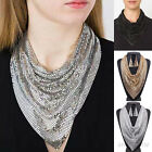 Fashion Gold Silver Metal Mesh Bib Collar Scarf Necklace Earrings Jewelry Set