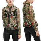 New Women Long Sleeve Embroidery Floral See-Through Mesh T-Shirt Top Blouse P0D2