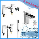 Modern Chrome Waterfall Bath Filler Shower Basin Mixer Tap Bathroom Set