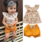 2pcs Infant Baby Girls Floral Casual T Shirt Tops+Shorts Outfits Clothes Set INA