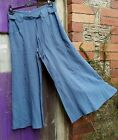 %SALE% HEART BLUE LINEN CULOTTES SIDE ZIP FASTENING TIE BELT FRONT POCKETS BNWT