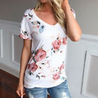 New Women Casual Short Sleeve Blouse T Shirt V Neck Floral Loose Shirt Tops