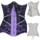 Burlesque Satin Lace Overylay Underbust Corset Steel Boned Basques Sexy Lingerie