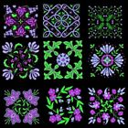 Anemone Quilt Squares 2 Machine Embroidery Designs CD-45 Anemone Designs-4 sizes