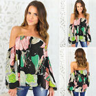 Women Loose Off Shoulder Flare Sleeve Strapless Blouse Casual Tops Plus Size
