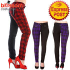 RKN6 Banned Half Black Tartan Plaid Check Emo Punk Skinny Jeans Pants Trousers