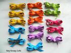 SET OF 16 X CLIP IN HAIR BOWS PVC BRIGHT