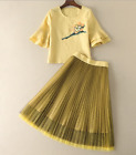 2017 occident yellow Exquisite Rare Adorable elegant free shipping top+skirt