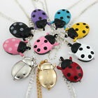 Fashion Ladybug Beetle Pocket Necklace Quartz Watch Party Kids Gift Chain GL02