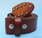 Snap on Leather Belt with Studs Tan Brown