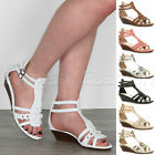 WOMENS LOW MID HEEL WEDGE ANKLE STRAP BUCKLE STRAPPY T-BAR HOLIDAY SANDALS SIZE
