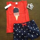 NWT Gymboree Outlet Girls 4th of July Outfit Top/Shorts/Hair Clips Size 3T 4T 5T