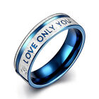 Women Men Blue Love ONLY YOU Titanium Stainless Steel Wedding Ring Size 7-10
