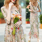 Summer Flower Embroidery Floral Mesh Evening Party Maxi Cocktail Long Dress
