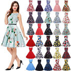 Flower Print Style 1950s 1960s Pinup Housewife Swing Evening Tea Length Dresses*