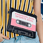 CASSETTE GOTHIC PUNK BLACK 51698 HAND INCLINED BAG CLUTCH